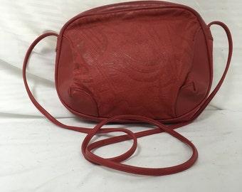 Red tooled leather purse, shoulder bag, bag, purses ,bags