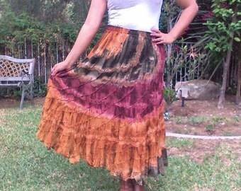 Tie  dye, cotton, skirt,amber,green,large skirt