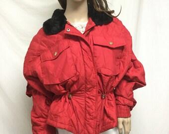 Red Quilted Ski Jacket Large-Medium