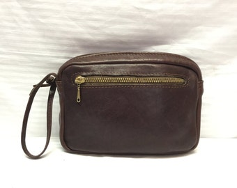 Free Ship, Clutch Bag Brown, Leather, Wristlet, Styled Steer Santa Barbara