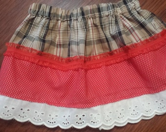 READY TO SHIP-Infant Red & Plaid Twirly Skirt 18-24M