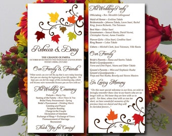 Fall Wedding Program Template Download - Tea Length Program - Autumn Leaves Rustic Ceremony Program - Double Sided Program Word Template