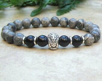 Men's Lion Bracelet, Black Onyx & Lancscape Jasper Stretch Bracelet, Yoga Bracelet, Mala Jewelry, Mens Tibetan Jewelry, Meditation Healing