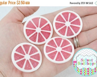 ON SALE Glitter Citrus Fruit Slice Acrylic Pendants, 4ct, Pink, 35mm