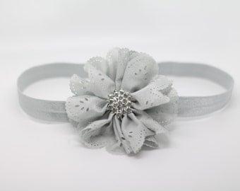 Gray Headband, Grey Headband, gray Flower Headband, gray Flower Girl Headband, gray Birthday Headband, Gray Flower Clip, Grey Flower Clip