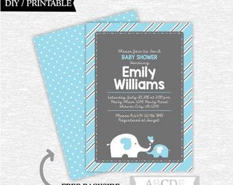 Blue Grey Elephant Boy Baby Shower Invitation DIY Printable (PDEL119)
