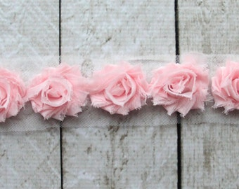 1 Yard Light Pink Petite Shabby Chiffon Flower Rose Trim - Flower Trim for Headbands and DIY supplies