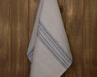 Linen Tea Towel Stonewashed Charcoal with Blue Stripes