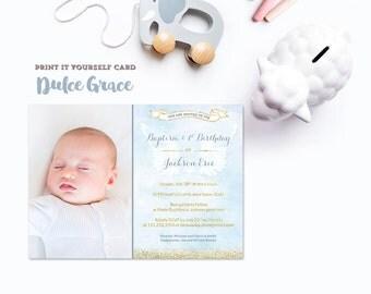 blue gold baptism invitation, aqua gold invitations, boy baptism invites, boy Christening & 1st birthday invitation, bautizo, PRINT YOUR OWN