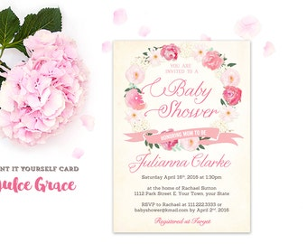 pink baby shower invitations, baby girl shower invites, pink wreath invitations, calligraphy baby shower invitation, printable invitation