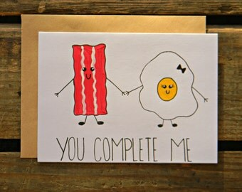 You Complete Me~Bacon & Egg Paleo/ Crossfit/ Fitness/Beachbody/Valentines Day Card