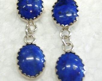 Two-tier dark blue lapis lazuli stud earrings