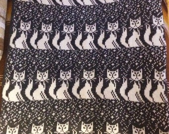 New born baby knit blanket Cat Fox