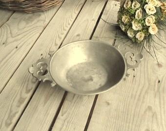 Vintage Pewter Bowl - German Pewter Cup - Rein Zinn - Vintage Home Decor - Pewter Decor - Shabby Chic