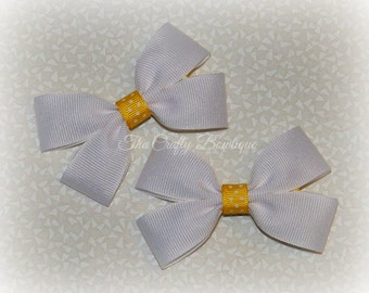 Yellow & White Bow ~ White Hair Bow ~ Yellow Polka Dot Bow ~ Small White Bow ~ White Clippies ~ White Pigtails ~ Yellow Hair Bow ~ Polka Dot