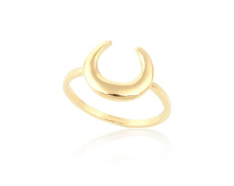 Gold Moon Ring, Gold filled Ring, Gold Antler Ring, Half Moon Ring, Simple Gold Ring, Crescent Moon Ring, Wholesale Rings, Trendy Rings
