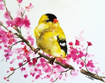 Original Watercolor Postcard, Watercolor Goldfinch, Bird Painting 4x6 inch