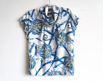 White Ornament Blue Blouse Silky Blouse Sleeveless Blouse High Neck Blouse Button back blouse top Size M L