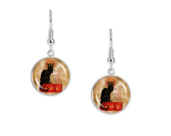 "Le Chat Noir or The Black Cat Steinlen Poster Dangle Earrings w/ 3/4"" Art Charms in Silver Tone or Gold Tone"
