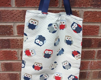 hand made fully lined tote bag owl fabric
