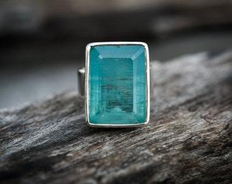 Aquamarine Ring - Aquamarine Ring Size 8.5 - Genuine Aquamarine and Sterling Silver Ring - Aquamarine Ring - Beautiful Blue Aqua Ring