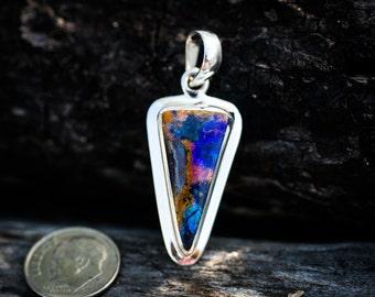 Opal Pendant - Boulder Opal Pendant - Natural Boulder Opal - Boulder Opal Necklace - Boulder opal pendant - Boulder opal Sterling Silver