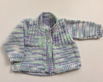 Hand knitted baby sweater, matinee coat, 0-3 months, hand knit, newborn baby sweater gift