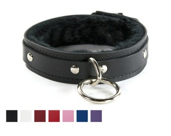 1 Ring Fuzzy Slave Collar - Leather, ORing, Locking Buckle - Faux Fur Lined