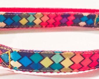 Colorful geometric dog collar