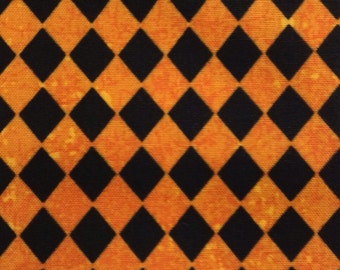 One Half Yard of Fabric Material - Mini Black and Orange Harlequin Diamonds