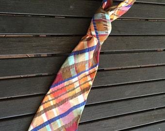 Vintage mens  tie- Vintage neck tie- wedding - Groom- checked Tie-mens ties- mens accessories- mens gifts- retro mens fashion