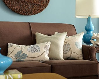 Accent Blue and Brown Toss Pillow, Lumbar Pillow for a Chair, Throw Pillow Leaves P-12-113
