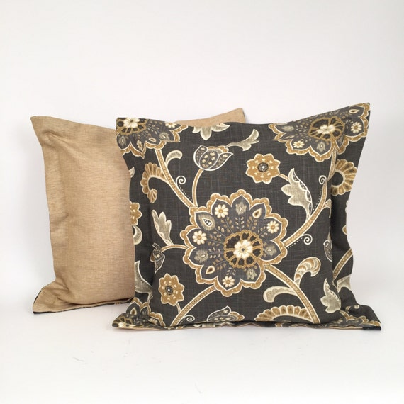 Designer Luxury Throw Pillow Taupe And Gold Floral Design