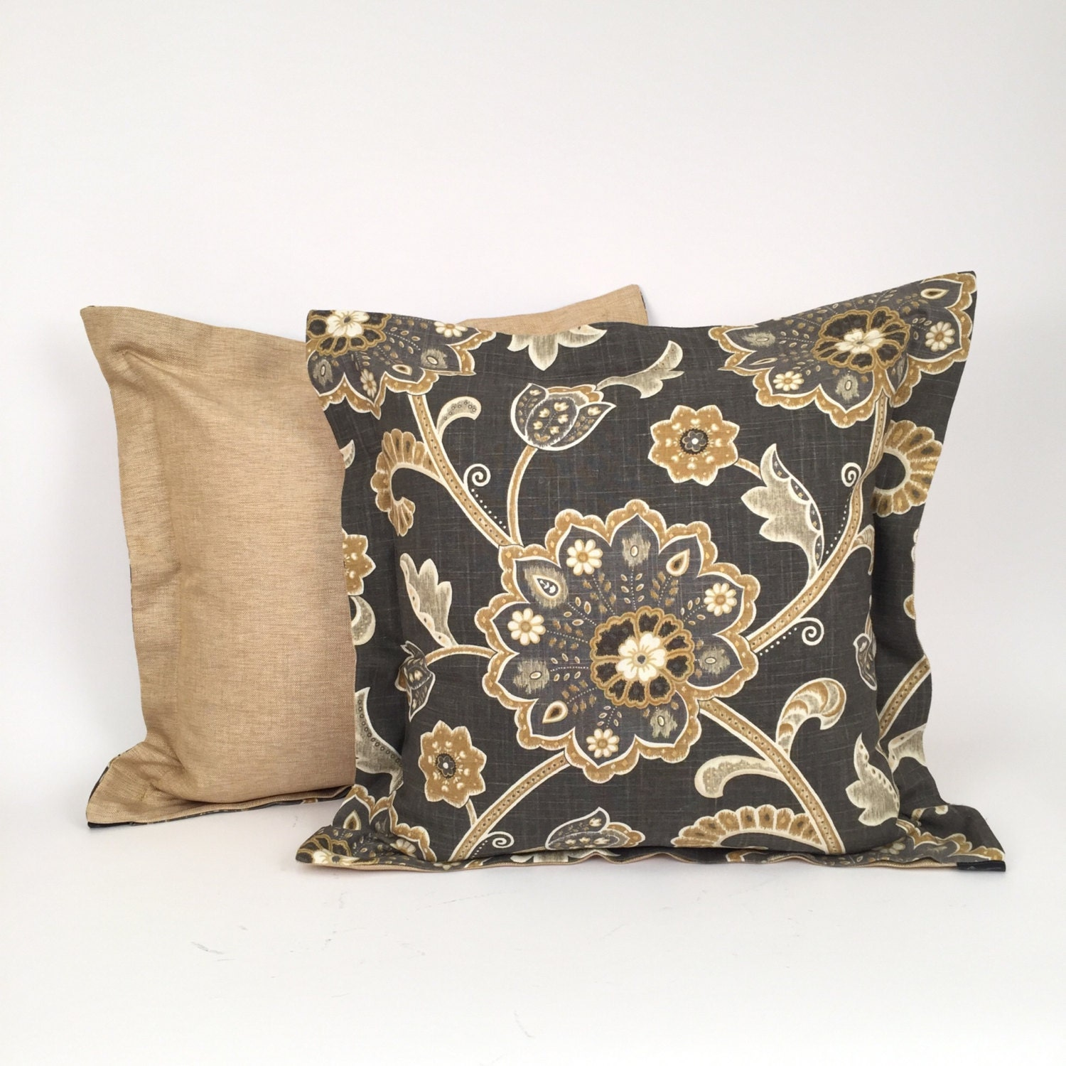 Designer luxury throw pillow taupe and gold floral design for Luxury decorative throw pillows