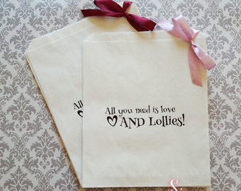 All you need is love AND Lollies! White Paper Candy Buffet Lolly Bags x 50