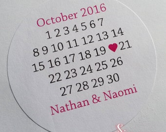 48 x Save the Date Wedding Calendar Personalised Envelope Sticker Seals