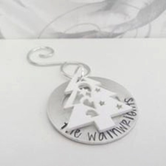 Personalised Christmas decoration, Tree ornament, named personalised custom stamped metal family tree ornament
