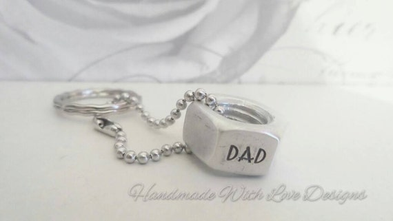 Dad daddy hex nut keyring, metal mens keyring, stamped meal keychain, personalised keyring gifts for him, gifts for her, masculine gift