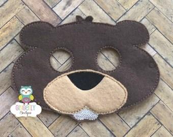 Beaver Mask, Kids Dress Up Mask, Beaver Costume Mask, Wool Blend Mask, Felt Beaver Mask, Jungle Party Favor, Monkey Mask