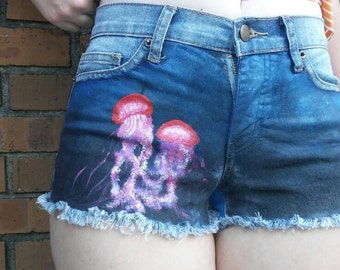 Handpainted Jellyfish Shorts