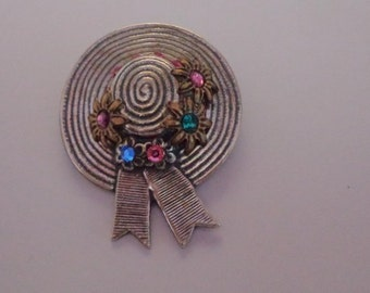 Vintage Silver Hat Brooch with Colored Rhinestones Easter Hat Brooch Spring Flowers Hat
