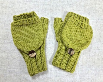 Convertible Fingerless Gloves for toddlers, moss green, organic merino wool, arm warmers with flap, gift for kids
