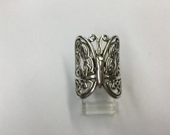 Sterling Silver Filagree Butterfly Ring Size 8