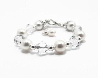 Pearl and Crystal Bracelet Baby Bracelet, Flower Girl Bracelet, Baby Jewelry, Baby Shower Gift, Girls Bracelet, Baby Pearls, (B117-61)