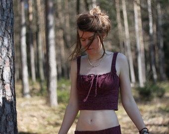 corset top from plum colored knit fabric