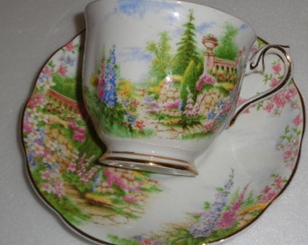 Royal Albert Kentish Rockery Scenic Cup and Saucer Pattern 816998 By Appointment to Her Majesty Queen Mary Fine Bone China Made in England