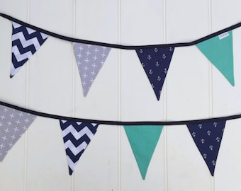 Navy Blue Anchors & Teal Bunting Flags