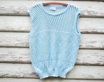 80s Vintage Pastel Blue Vest Top Wool Knitted Tee Singlet Cable Knit Sweater Kawaii Vtg 1980s Size S-L