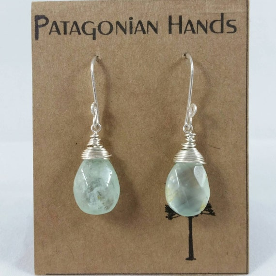 Handmade  Fine Silver (.999) and Sterling silver  earrings with Aquamarine tear drop gemstone. Free shipping in the US