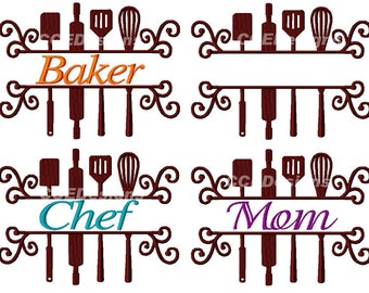 Split Cooking Utensils for the Chefs - Cooks, Aprons, Machine Embroidery Designs